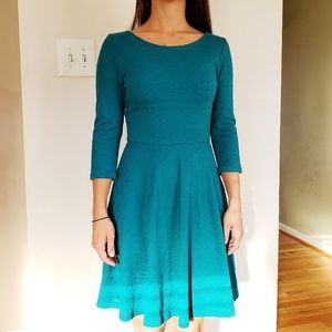 Everly Turquoise Blue Fit & Flare 3/4 Sleeve Dress